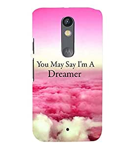 Printvisa Dreamer Quote With A Cloudy Pic Back Case Cover for Motorola Moto X Play