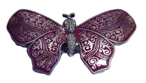 Outasight Patented Eyeglass/ID Holder Brooch: Cloisonee Butterfly Brooch in Lavender n Silver