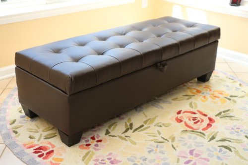 home-life-mission-brown-tufted-leather-storage-ottoman-bench