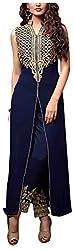 Fashions World Women's Georgette Dress Material (Blue)