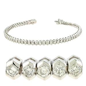 14K White Gold 4cttw Round Diamond Bracelet
