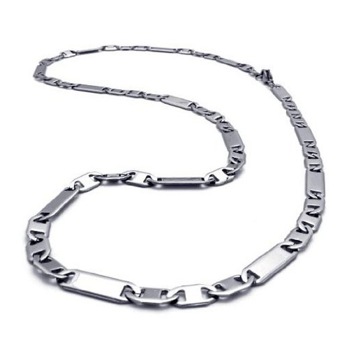 CET Domain SZ11-1144 Titanium Silver Colored Steel Necklace Chain for Mens Apparel