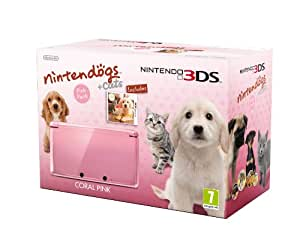 Nintendo Handheld Console 3DS -  Coral Pink Bundle with Nintendogs and Cats - Golden Retriever