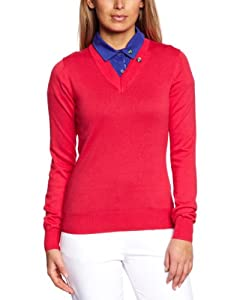 Club Green Eagle Women's Long Sleeve Deep V Neck Sweater - Bright Rose, Large