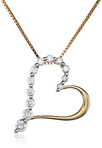 "10K Yellow Gold Diamond Heart Pendant Necklace (1/4 Cttw, I-J Color, I2-I3 Clarity), 18"""