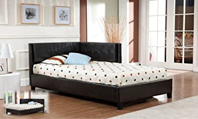 Amazing Kings Brand Brown Tufted Design Leather Look Twin Size Corner Upholstered Platform Bed ue ue