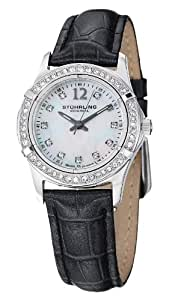 Stuhrling Original Vogue Farina Women's Quartz Watch with Mother of Pearl Dial Analogue Display and Black Leather Strap 703.01