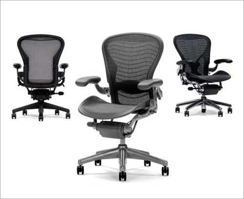 herman miller aeron home office chair loaded polished aluminum frame leather arms posturefit greyblack