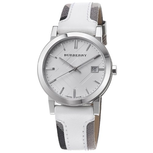 8e5ed2975bd6 Burberry BU9019 Large Check Leather Strip On Fabric Watch - Aline ...
