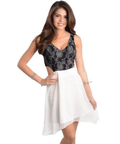 2Luv Women'S Printed Cut Out Chiffon Dress White & Black S(D13735)