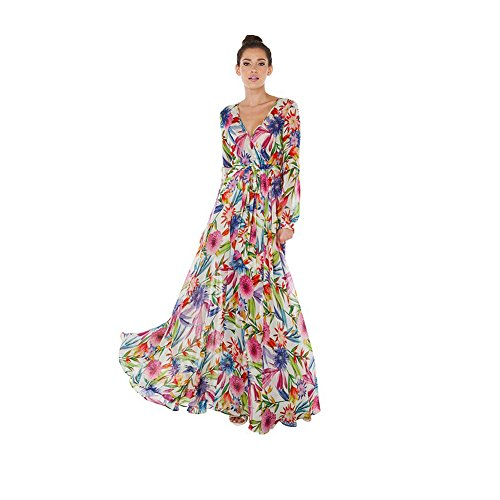 Valawy Women's Floral Vintage Long sleeve V Neck Chiffon flower Pleated Bohemian Maxi Dress (L, White) (Colorful Maxi Dress compare prices)