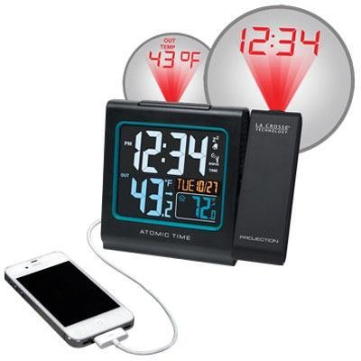 Brand New La Crosse Technologies La Crosse Technology Atomic Projection Alarm Clock With In/Out Temperature And Usb Charging front-913311