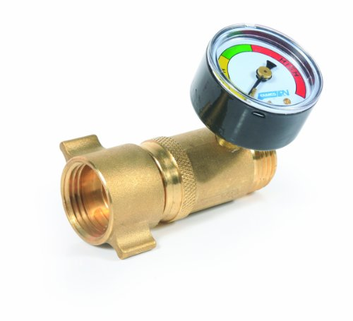 Camco 40064 Brass Water Pressure Regulator with Gauge