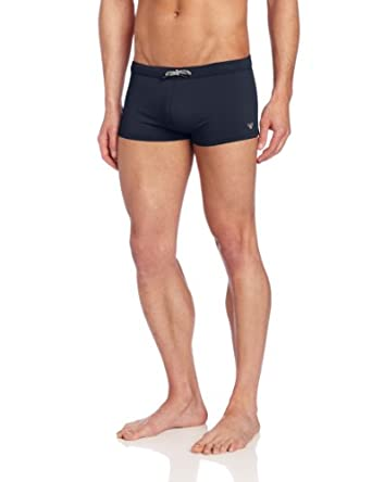 Emporio Armani Men's Embroidery Basic Lycra Square Boxer, Marine, Small/48