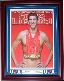 Buy Michael Phelps Olympic Autographed Signed Gold Medals Sports Illustrated 16x20 Framed Photo by Hollywood Collectibles