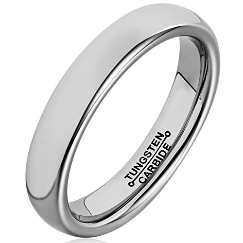 MNH Tungsten Carbide Ring Women 4mm Engagement Wedding Band Men Polished Comfort Fit Domed Classic Design (Tungsten Carbide Ring Set compare prices)