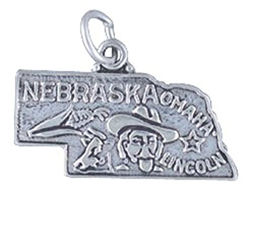 Sterling Silver NEBRASKA State Map Outline Word Charm (Italian Map Charm compare prices)