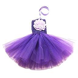 Buenos Ninos Baby Girls TUTU Crochet Tube Top Pettiskirt (Purple)