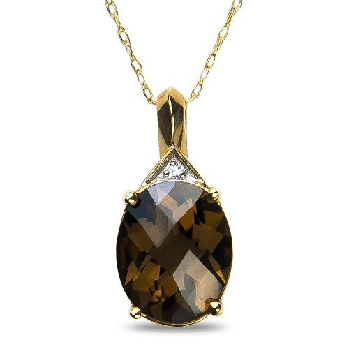 womens-diamond-accent-pendant-complementary-chain-with-smokey-quartz-in-10k-yellow-gold-by-nissoni-j