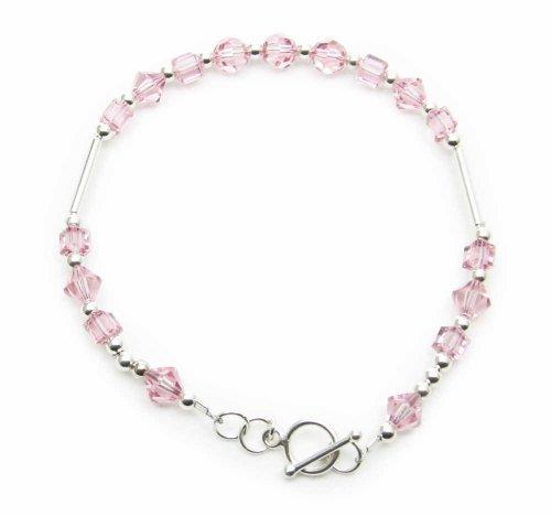 AM4079 – Unique Pink Swarovski(TM) Crystal 925 sterling silver bracelet by Dragonheart – 20cm