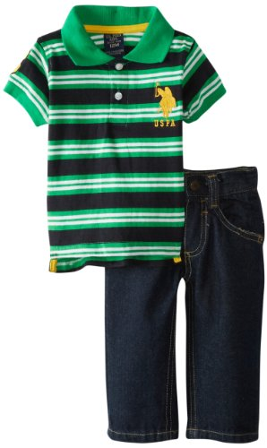 U.S. Polo Assn. Baby-Boys Infant Striped Polo With Five Pocket Jean, Black, 12 Months