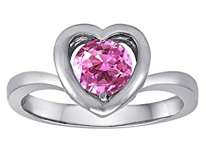 Original Star K(tm) Heart Engagement Promise of Love Ring with 7mm Round Created Pink Sapphire in 925 Sterling Silver Size 5