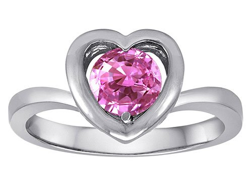 Original Star K(tm) Heart Engagement Promise of Love Ring with 7mm Round Created Pink Sapphire in 925 Sterling Silver Size 6