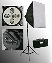 ePhoto 1000W Photo Studio Digital Video Lighting Photography Video Softbox COOL Fluorescent 5 light Head Light 5 x 45 Watts Bulbs by ePhotoInc H5S