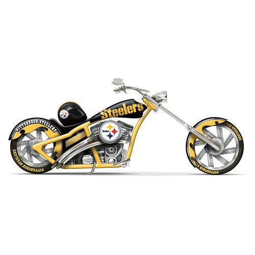"Pittsburgh Steelers ""Black & Gold Chopper"" Motorcycle Figurine by The Hamilton Collection at Amazon.com"
