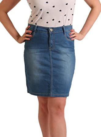 womens knee length denim skirt light blue skirt with