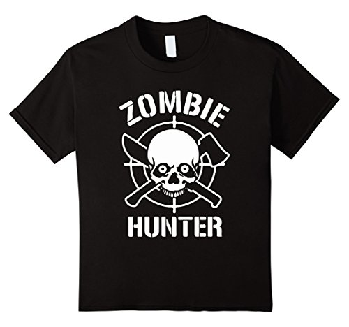 [Kids Official: Zombie Hunter Halloween Costume T Shirt 6 Black] (Zombie Costume Ideas For Adults)