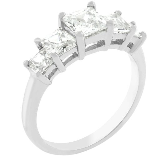 2.5 Carat (ct, cttw, ctw) Five Stone Princess Cut Silver Tone Cubic Zirconia CZ Anniversary Ring (Size 5,6,7,8,9,10)
