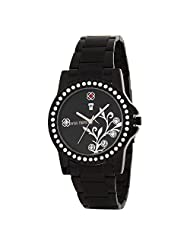 Swiss Trend Designer Womens Watch With Black Dial And Metal Chain(Artshai1657)