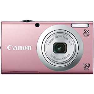 Canon PowerShot A2400 IS 16.0 MP Digital Camera with 5x Optical Image Stabilized Zoom 28mm Wide-Angle Lens with 720p Full HD Video Recording and 2.7-Inch Touch Panel LCD (Pink)