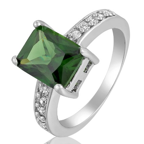 Rizilia Engagement! Green Emerald 18K White Gold Plated Lady Fashion Jewelry Ring 7/O
