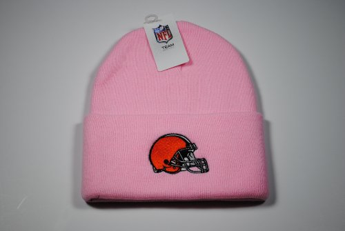 Cleveland Browns Pink Cuffed Knit Beanie Cap at Amazon.com