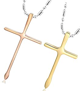Daesar His & Hers Necklace Set Couples Stainless Steel Crucifix Cross Pendant Necklace Gold Rose Gold
