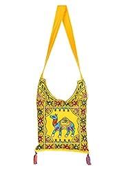 Rajrang Elegant Womens Camel Printed Cotton Embroidered Work Yellow Sling Bag