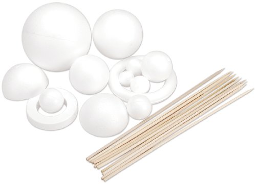 Smoothfoam Styrofoam Solar System Kit for Modeling, White - 1