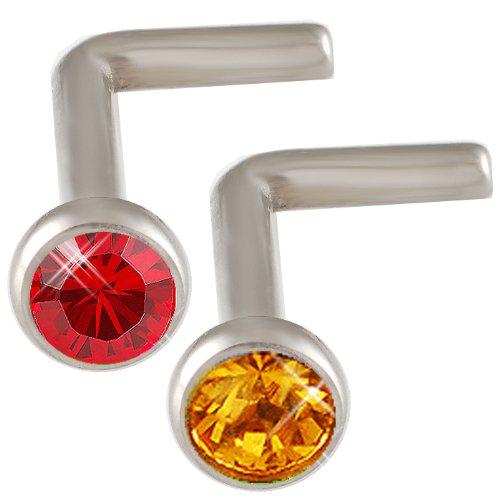 18g 18 gauge 1mm 7mm long Steel nose rings studs screws bones bars Light Siam and Peach Crystals DAFV Body Piercing Jewellery 2Pcs