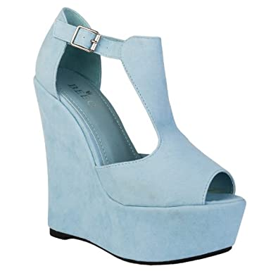 77q womens baby blue faux suede peep