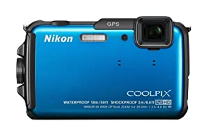 Nikon COOLPIX AW110 16 MP Waterproof Digital Camera with Built-In Wi-Fi (Blue)