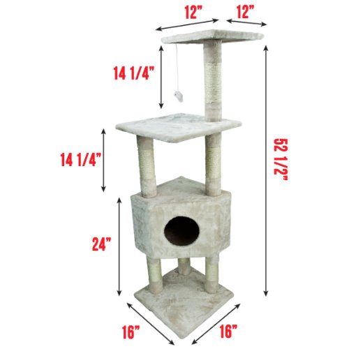 My1stPet Cat Tree 4 Level Condo with Scratching Post, 53″, Beige