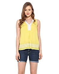 Saiesta Women's Lemon Yellow Embroidered Lacey Top