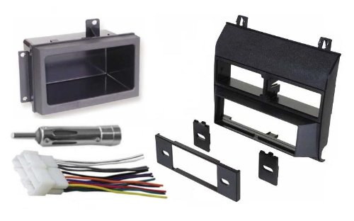 1988-1996 Black Chevrolet & GMC Complete Single Din Dash Kit + Pocket Kit + Wire Harness + Antenna Adapter. (Chevy - Crew Cab Dually, Full Size Blazer, Full Size Pickup, Suburban, Kodiak) (GMC - Crew Cab Dually, Full Size Pickup Sierra, Suburban, Yukon) (1988, 1989, 1990, 1991, 1992, 1993, 1994, 1995, 1996)