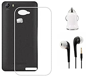 Tidel Silicon Transparent Soft Back Cover For Micromax Bolt Q338 With 3.5mm Handsfree Earphone & Car Charger Adapter