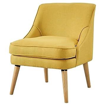LEXI Fauteuil en bois massif - Tissu jaune - Style scandinave - L 73 x P 63 cm