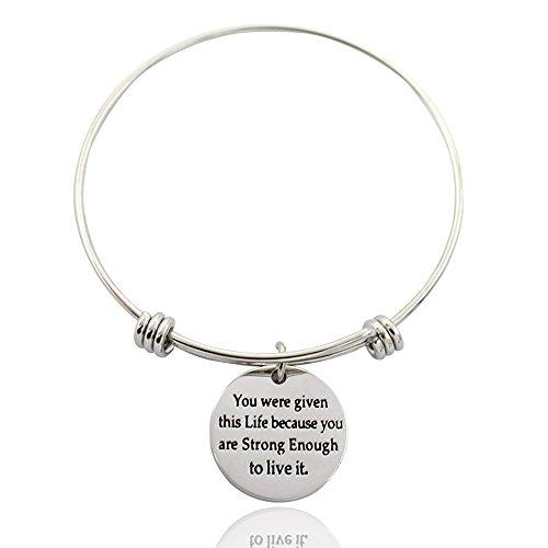 Inspirational braccialetto espandibile Bracciale-ricevuto questa vita perché lei sono forte abbastanza per vivere