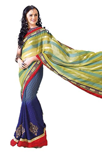 AG Lifestyle Blue& Green Jacquared Saree With Unstitched Blouse ASL809