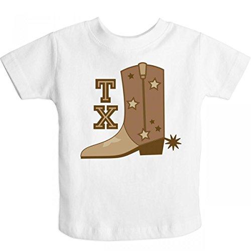 Inktastic Little Boys' Texas Cowboy Boot Toddler T-Shirt 3T White